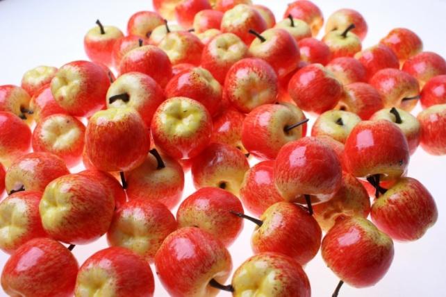 искусственные фрукты яблоки искусственные 3,5см красно-желтые (100шт в уп) 7659