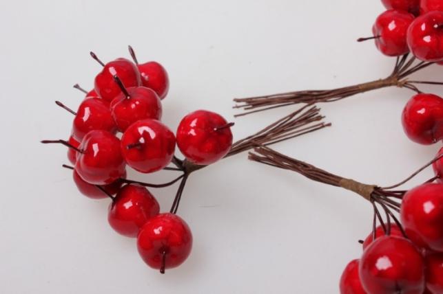 яблоки красные искусственные 1,8см (12 пучков по 12 шт) 3608