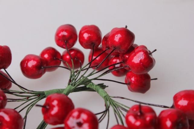 искусственные фрукты яблоки красные искусственные (12пучков по 12шт) 7798