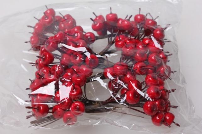 яблоки красные искусственные 1см (12 пучков по 12 шт) 3530