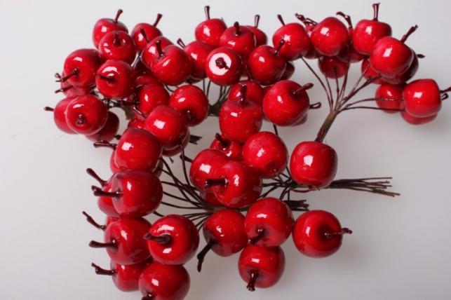 Яблоки красные искусственные  2см (12 пучков по 12 шт) 5601 SM8881