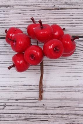 Яблоки пласт. красные 2см (10шт) 11 см. SM2284 RED