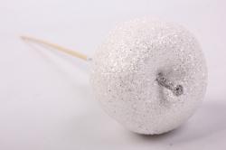 Яблоко с глиттером на вставке, D5x50см, белыйRF151086-4