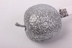 Яблоко с глиттером на вставке, D5x50см, серебряныйRF151086-3