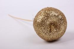 Яблоко с глиттером на вставке, D5x50см,  золотойRF151086-2