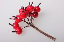 ягодки красные искусственные 1,2см (12 пучков по 12 шт) 5625 sm8853
