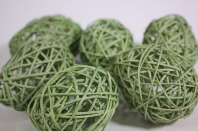 Яйца из ротанга 9см оливковые (6шт в уп) ВН111AD-8 S/6-4   4078