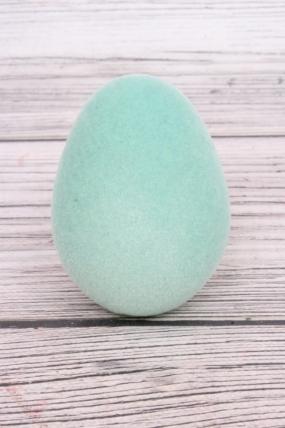 Яйцо пасхальное флокированное 7х9см мятное SF520-523