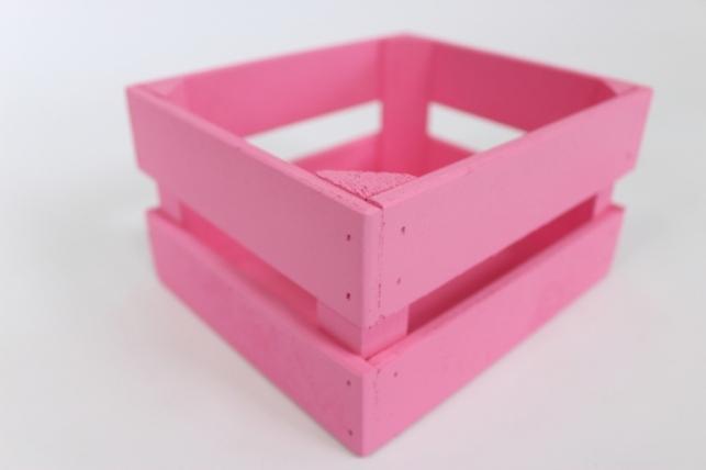 Ящик (17,5*15*10) фанера 6мм+брус+МДФ, окраш. (розовый - розовый) Я01-02-0505