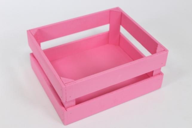 Ящик (22,5*19*10) фанера 6мм+брус+МДФ, окраш. (розовый - розовый) Я04-02-0505