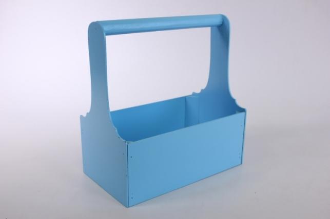 Ящик для цветов и подарков малый (дл.24,5см;шир.14см;выс.26см) МДФ-3мм, окраш. (голубой - голубой) Я37-02-0707