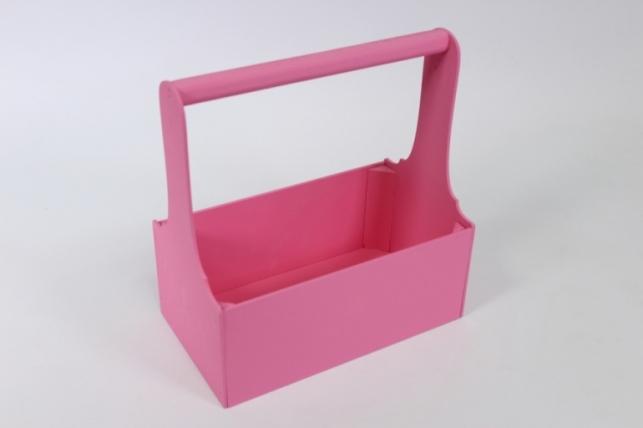 Ящик для цветов и подарков малый (дл.24,5см;шир.14см;выс.26см) МДФ-3мм, окраш. (розовый - розовый) Я37-02-0505