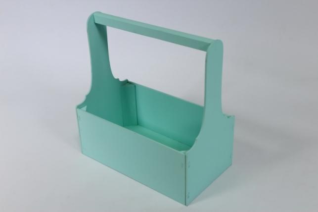 Ящик для цветов и подарков малый (дл.26см;шир.14см;выс.25см) МДФ-3мм, окраш. (тиффани-тиффани) Я37-02-2626