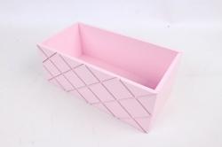 Ящик (ГО)  №11 розовый без ручки   в квадратик