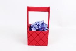 Ящик (ГО) с ручкой №6 красный   в квадратик