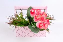 Ящик (ГО) с ручкой №13 розовый  в квадратик