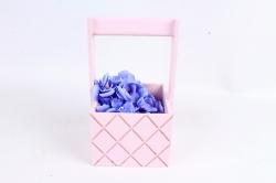 Ящик (ГО) с ручкой №6 розовый  в квадратик