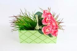 Ящик (ГО)  №11 зеленый без ручки   в квадратик