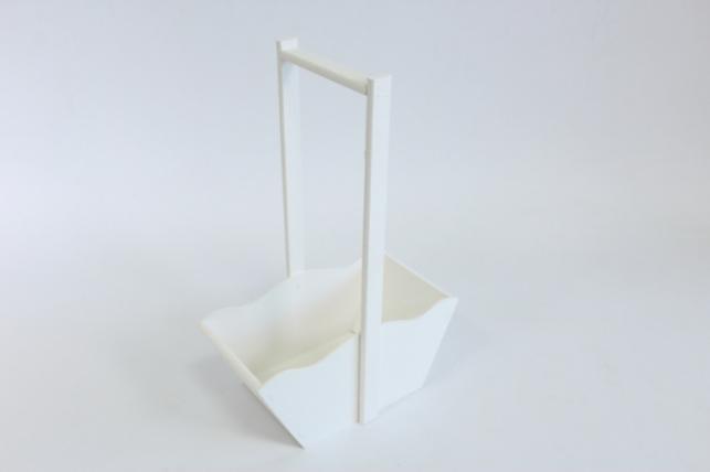 Ящик-корзинка деревянная для цветов и подарков №2 (дл.24см;шир.12,5см;выс.36см) МДФ-3мм + фанера 8мм, окраш. ( белый - белый) Я39-02-0303