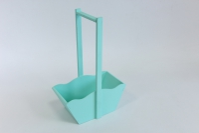 Ящик-корзинка деревянная для цветов и подарков №2 (дл.24см;шир.12,5см;выс.36см) МДФ-3мм + фанера 8мм, окраш. (тиффани-тиффани) Я39-02-2626