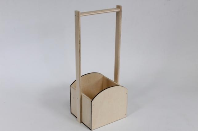 Ящик-корзинка деревянная для цветов и подарков №3 (дл.15,5см;шир.13см;выс.36,5см) фанера 3мм + фанера 8мм, неокраш. Я42-00-0000