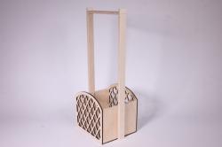 Ящик-корзинка деревянная для цветов и подарков с решеткой (дл.15,5см;шир.13см;выс.36,5см) фанера 3мм + фанера 8мм, неокраш. Я45-00-0000