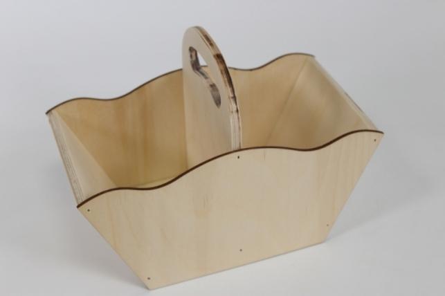 Ящик-корзинка для цветов и подарков №1 (дл.24см;шир.12,5см;выс.17см) фанера 3мм + фанера 8мм, неокраш. Я17-00-0000