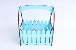 Ящик-заборчик (А)  с овальной ручкой  (Цвет Голубой )Я056