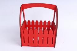Ящик-заборчик (А)  с овальной ручкой  (Цвет Красный )Я056