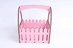 Ящик-заборчик (А)  с овальной ручкой  (Цвет Розовый )Я056