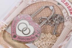 """Замок свадебный """"Сердце с кольцами розовое"""" 7x4см"""