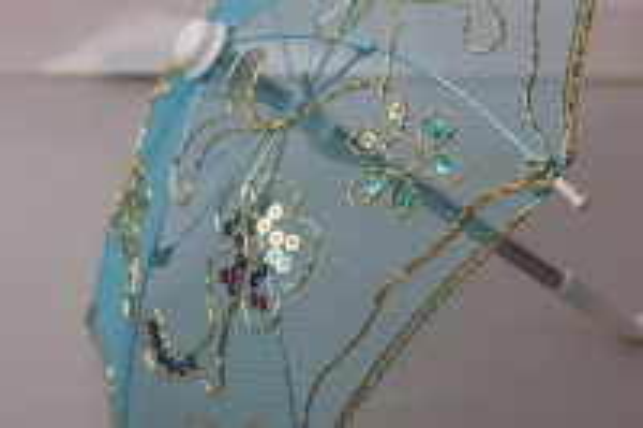 зонт декоративный гипюр 30см голубой