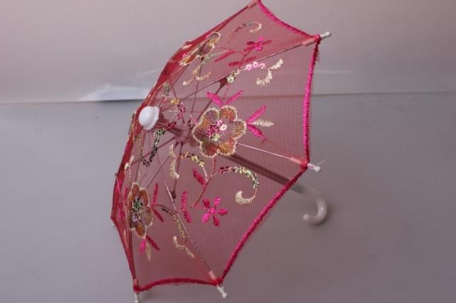 Зонт декоративный гипюр 30см Малиновый