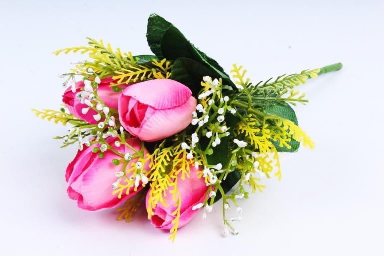Тюльпан с декором ярко-розовый
