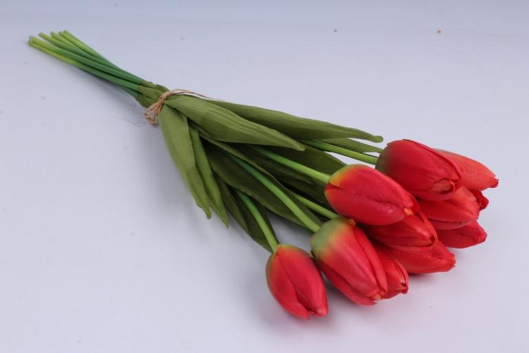 тюльпаны букет 42 см (10 шт в уп)  красные art002