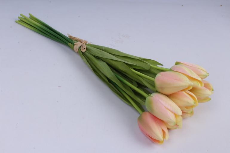 тюльпаны букет 42 см (10 шт в уп)  кремово-розовые art002