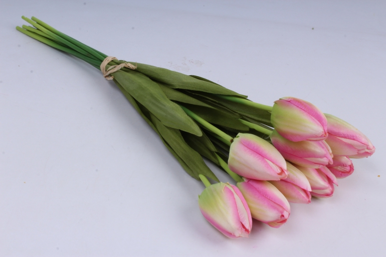 тюльпаны букет 42 см (10 шт в уп)  розовые art002