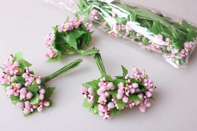 тычинки розовые сахарные с листочками 7см (120 шт в упаковке) 1747