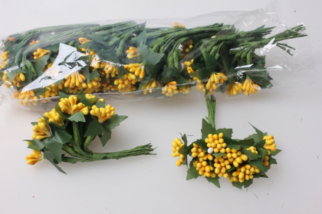 тычинки ярко-желтые с листочками 7см (144 шт в уп) 1679