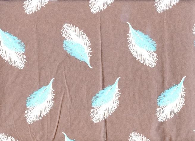 перья 0.7 упаковка для цветов,- цветочная плёнка - рулон 0.7 перья - бело-голубой 5811