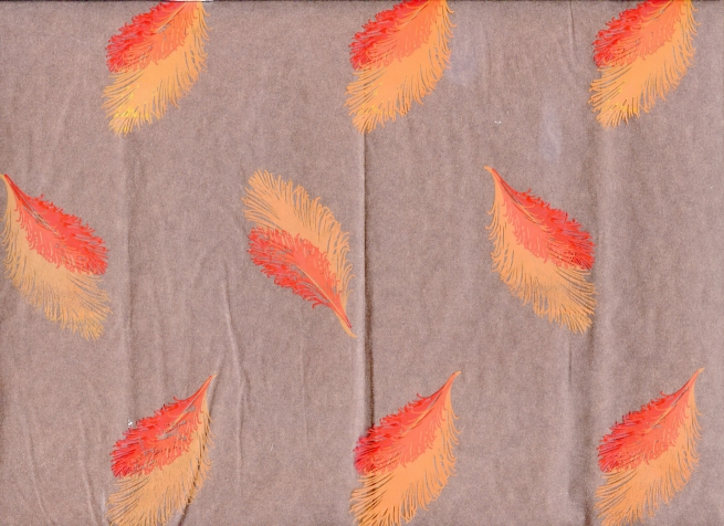 перья 0.7 упаковка для цветов,- цветочная плёнка - рулон 0.7 перья - красно-оранжевый 5814