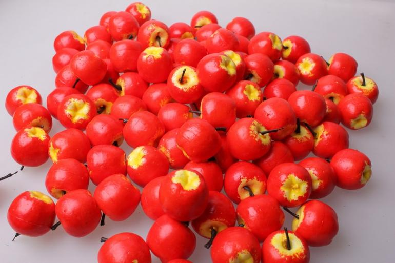 искусственные фрукты яблоки искусственные 3,5см красные (100шт в уп) 7660