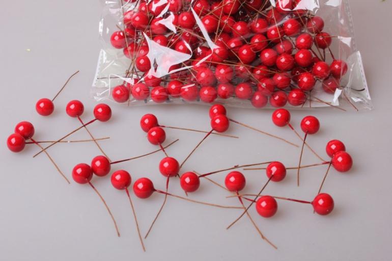 ягодки красные 1,2см с проволокой (200шт в упаковке) 2072