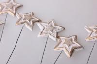 Декоративные вставки - Украшение тортов на Новый Год 2014 - 4257 Вставка Звезда со звездочками белая-золото (12шт в уп)