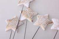 Декоративные вставки - Украшение тортов на Новый Год 2014 - 4288 Вставка Звезда белая-золото (12шт в уп)
