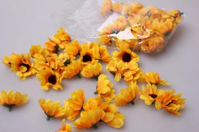 Хризантема желто/оранжевая (головки) 3,5см (60шт в уп) 3275