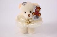 Игрушка для букетов - Медведь (бежевое платье) h=12см №05