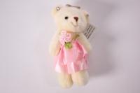 Игрушка для букетов - Медведь (розовое платье) h=12см №1413/4