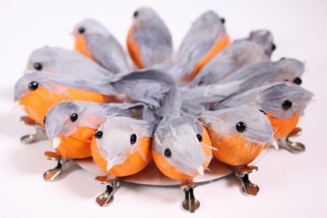Искусственные птички - 5998 Птичка в круге 10см на клипсе Зорянка (12шт в уп)