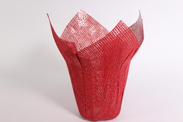 Кашпо из бумажной сетки Красное (внутри пленка) d=12см 0247